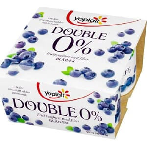 YOPLAIT DOUBLE 0% BLÅBÆR 4X125G
