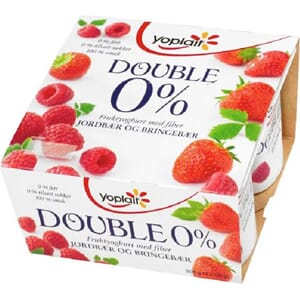 YOPLAIT DOUBLE 0% JORDBÆR/BRINGEBÆR 4X125G